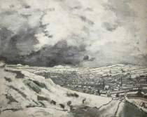 Accrington from the Coppice by John Virtue. From the collection at accrington's Haworth Art Gallery.
